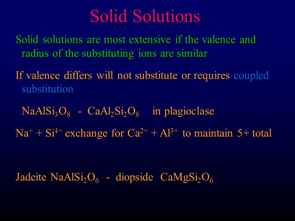 Solid Solutions Solid solutions are most extensive if the valence and radius of the substituting ions are similar.
