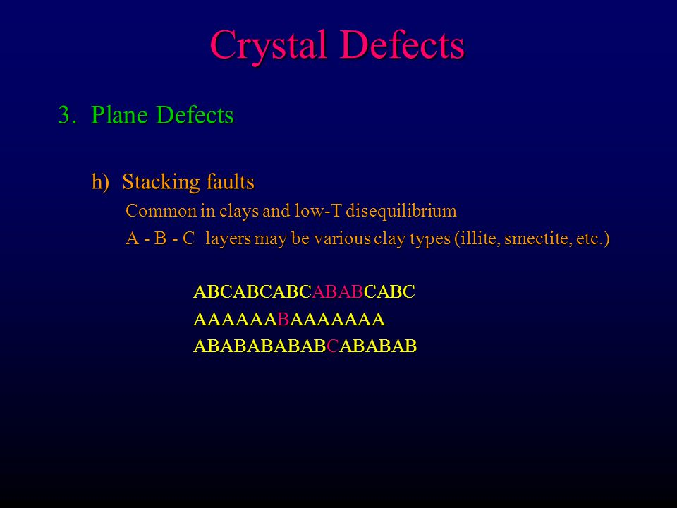 Crystal Defects 3. Plane Defects h) Stacking faults