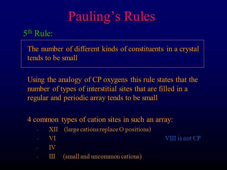 Pauling's Rules 5th Rule: