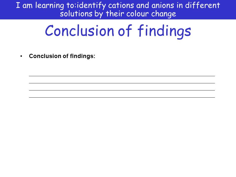 Conclusion of findings
