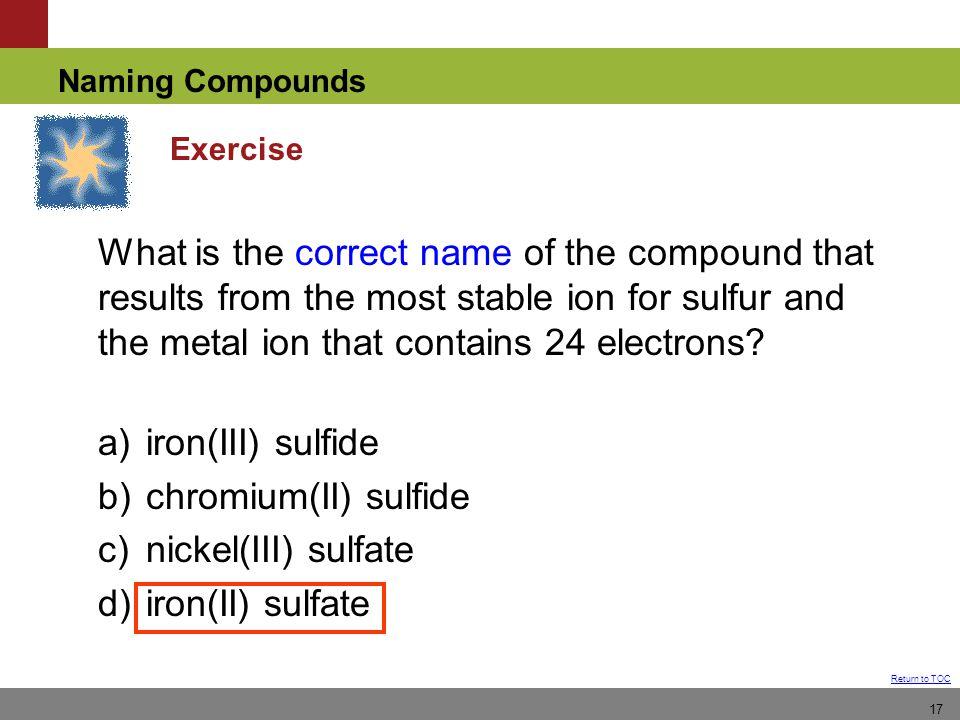 b) chromium(II) sulfide c) nickel(III) sulfate d) iron(II) sulfate