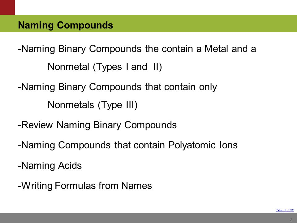-Naming Binary Compounds the contain a Metal and a Nonmetal (Types I and II) -Naming Binary Compounds that contain only Nonmetals (Type III) -Review Naming Binary Compounds -Naming Compounds that contain Polyatomic Ions -Naming Acids -Writing Formulas from Names