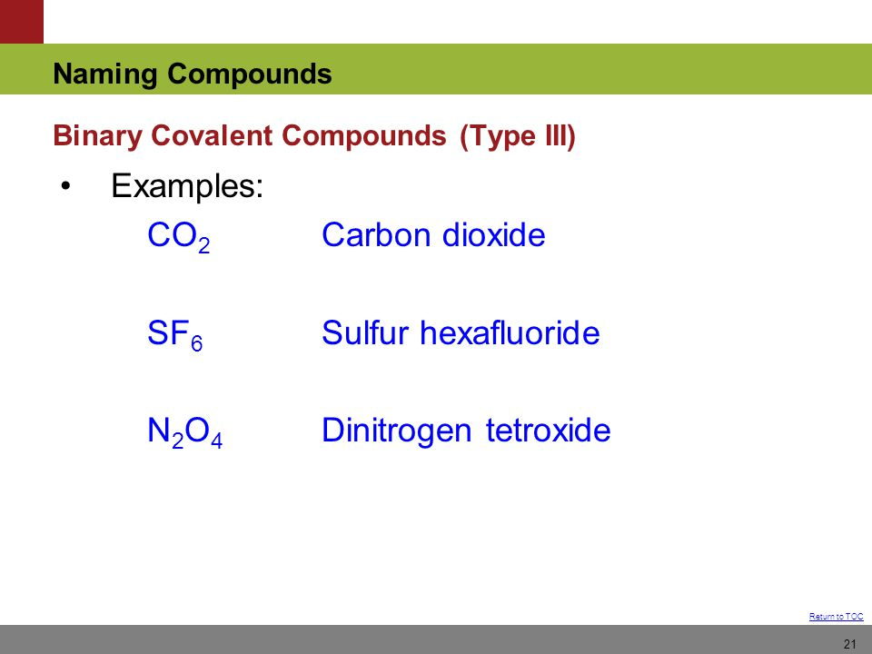 Binary Covalent Compounds (Type III)