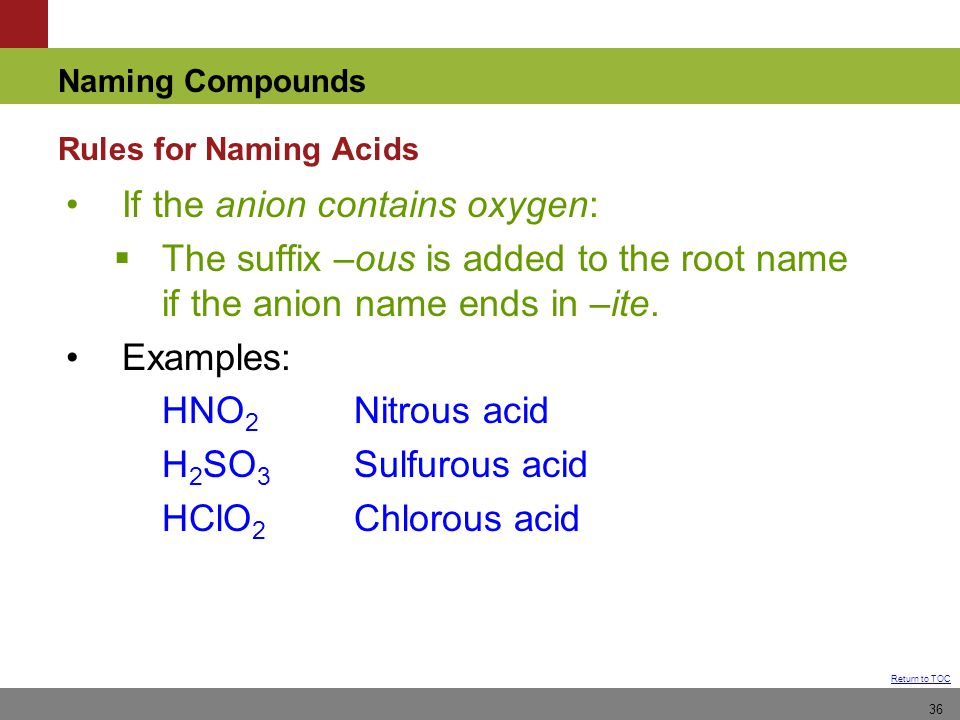 If the anion contains oxygen: