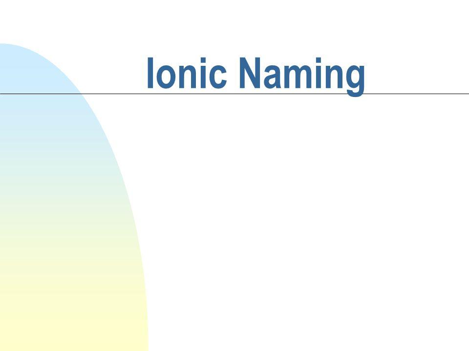 Ionic Naming