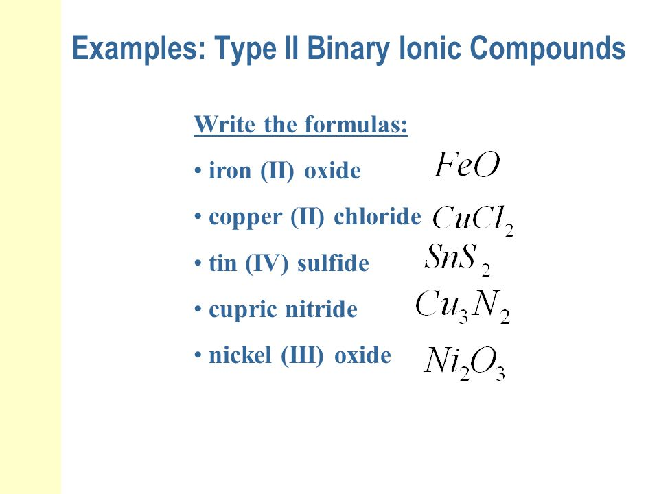 Examples: Type II Binary Ionic Compounds