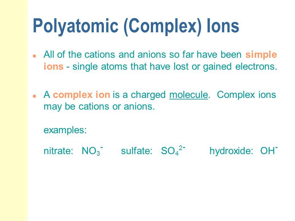 Polyatomic (Complex) Ions