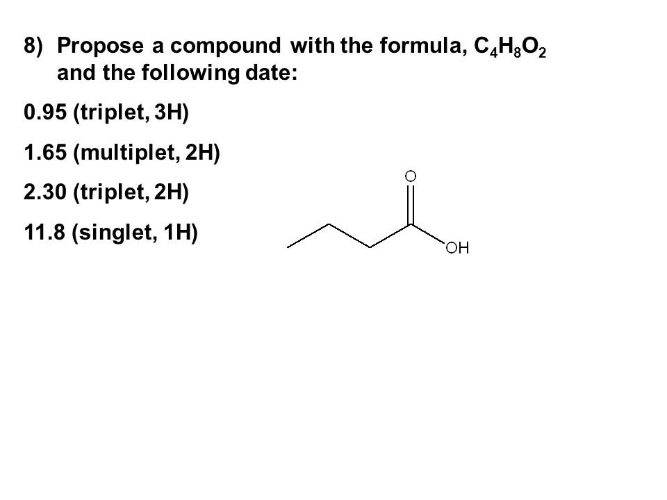 Propose a compound with the formula, C4H8O2 and the following date:
