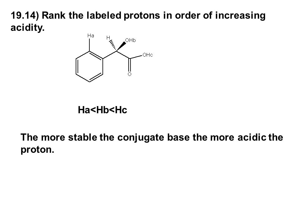 19.14) Rank the labeled protons in order of increasing acidity.