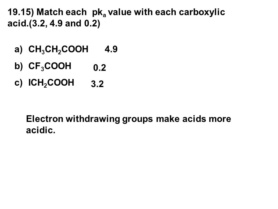 19. 15) Match each pka value with each carboxylic acid. (3. 2, 4