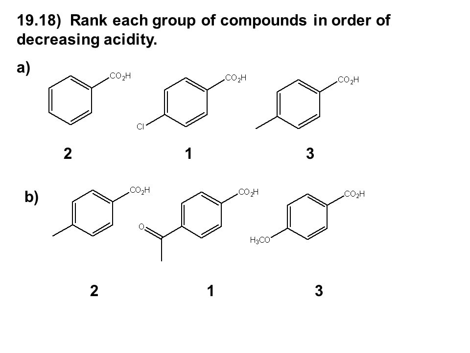 19.18) Rank each group of compounds in order of decreasing acidity.