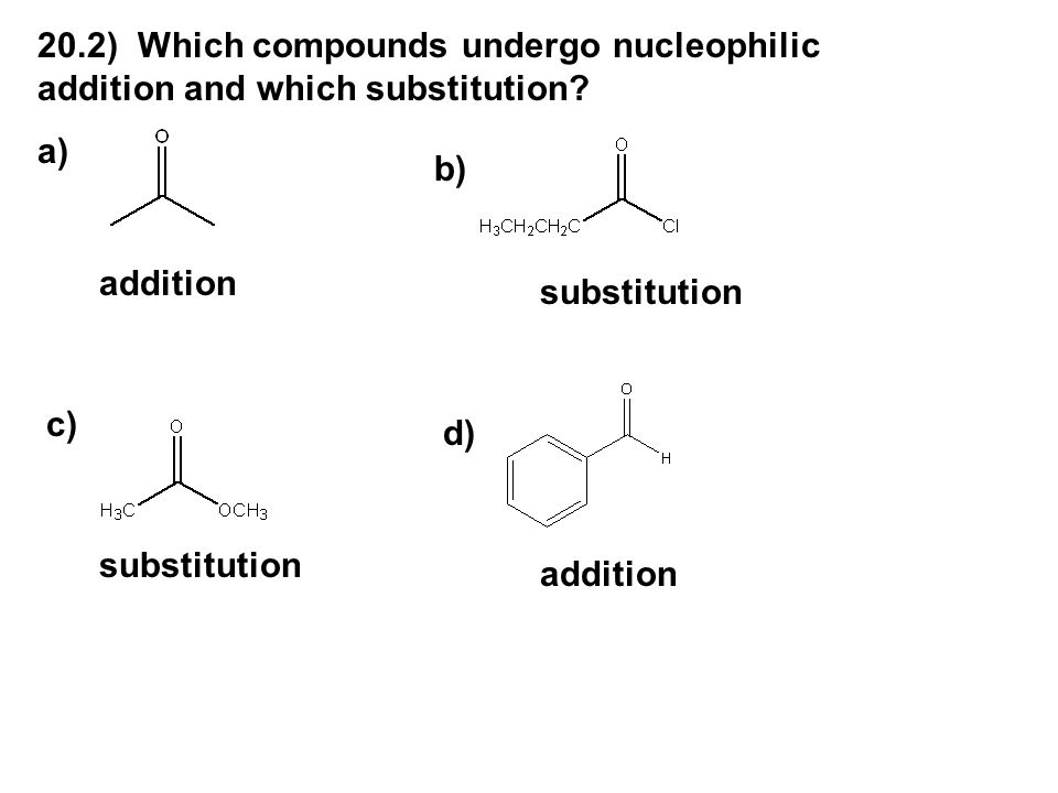 20.2) Which compounds undergo nucleophilic addition and which substitution