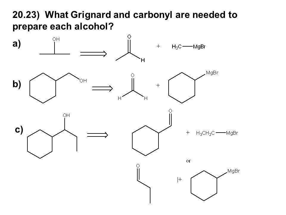 20.23) What Grignard and carbonyl are needed to prepare each alcohol