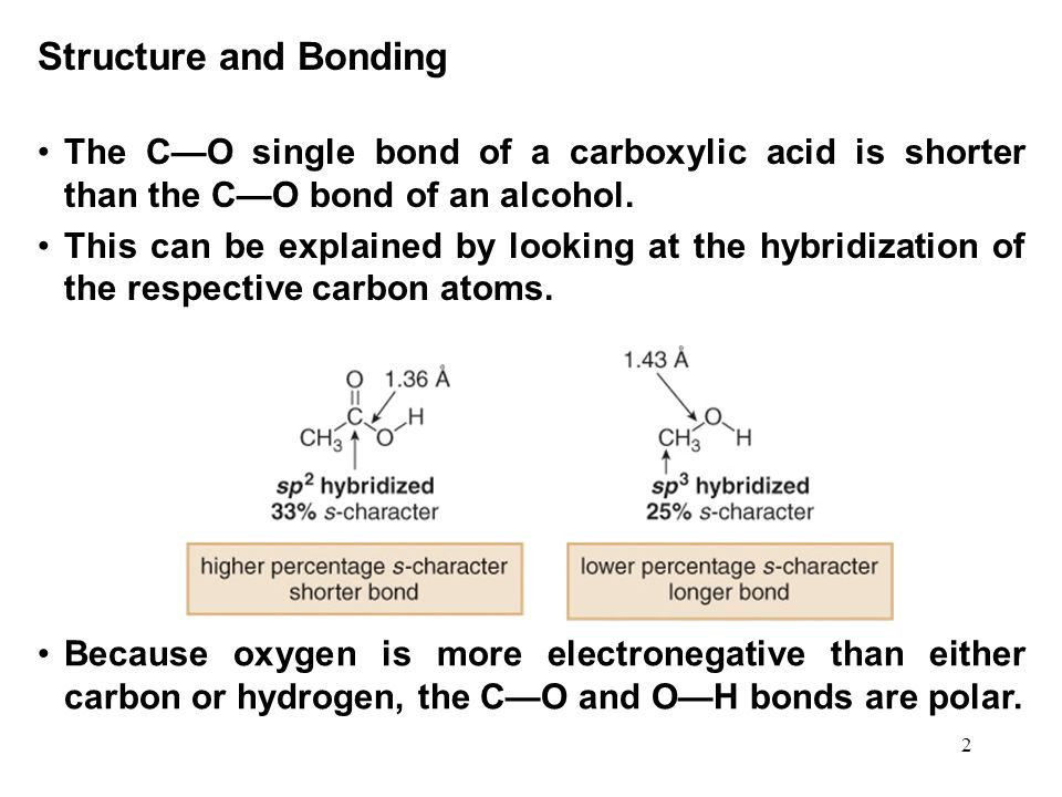 Structure and Bonding The C—O single bond of a carboxylic acid is shorter than the C—O bond of an alcohol.