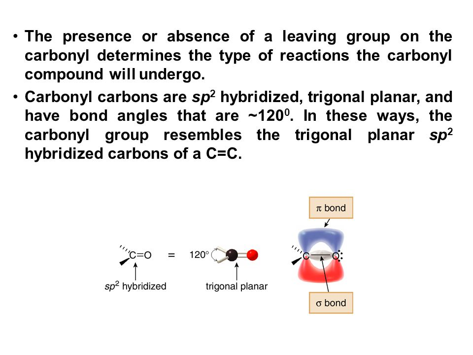 The presence or absence of a leaving group on the carbonyl determines the type of reactions the carbonyl compound will undergo.