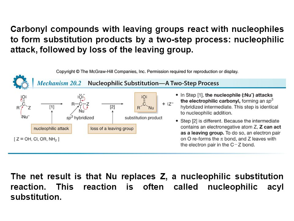 Carbonyl compounds with leaving groups react with nucleophiles to form substitution products by a two-step process: nucleophilic attack, followed by loss of the leaving group.