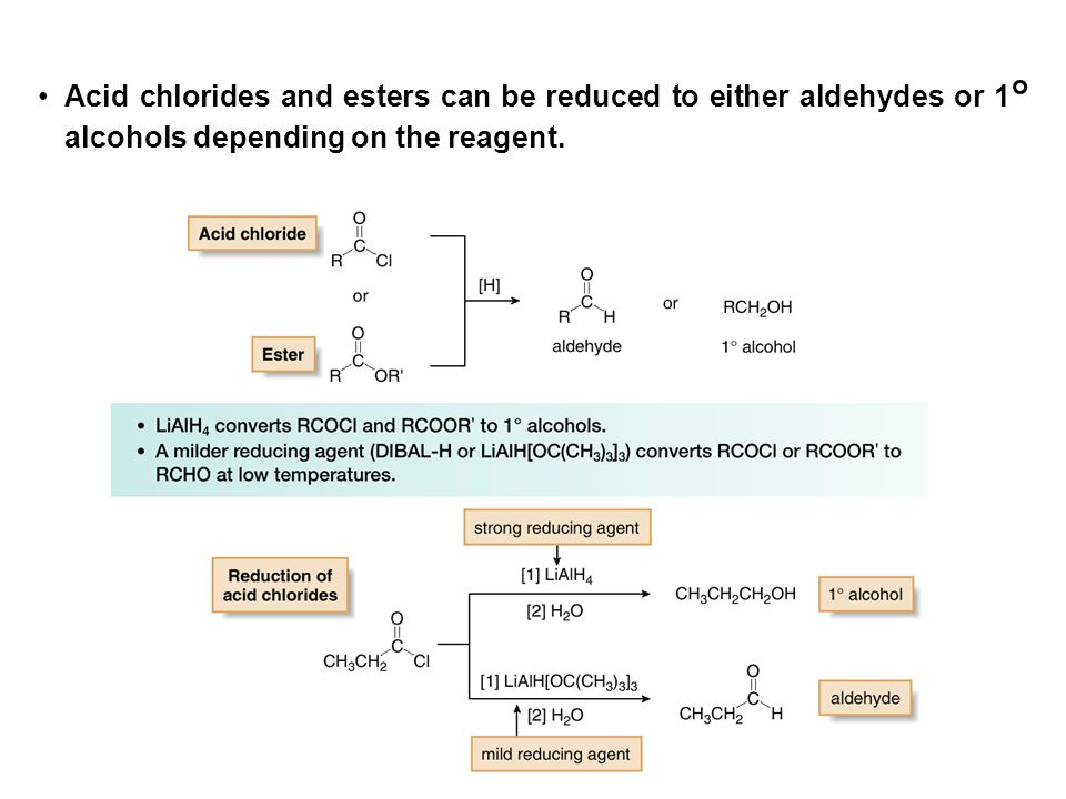 Acid chlorides and esters can be reduced to either aldehydes or 1° alcohols depending on the reagent.