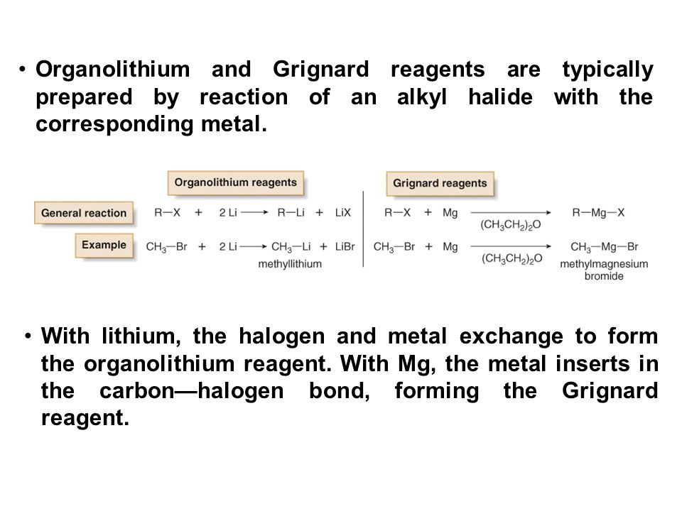 Organolithium and Grignard reagents are typically prepared by reaction of an alkyl halide with the corresponding metal.