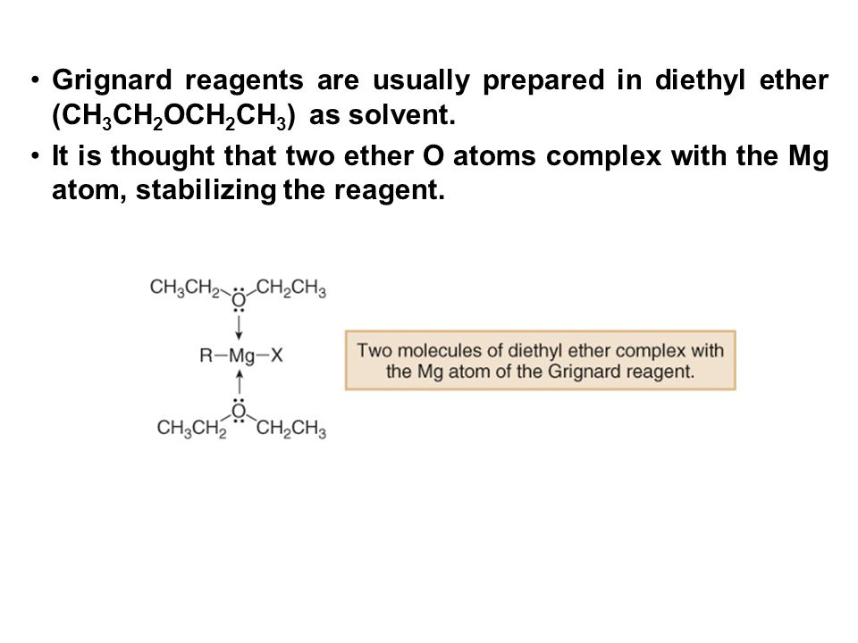 Grignard reagents are usually prepared in diethyl ether (CH3CH2OCH2CH3) as solvent.