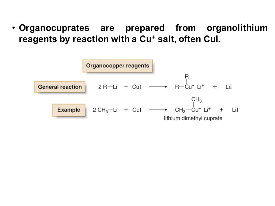 Organocuprates are prepared from organolithium reagents by reaction with a Cu+ salt, often CuI.