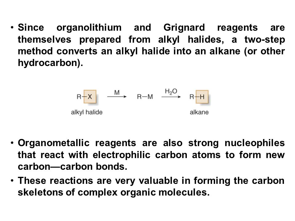 Since organolithium and Grignard reagents are themselves prepared from alkyl halides, a two-step method converts an alkyl halide into an alkane (or other hydrocarbon).