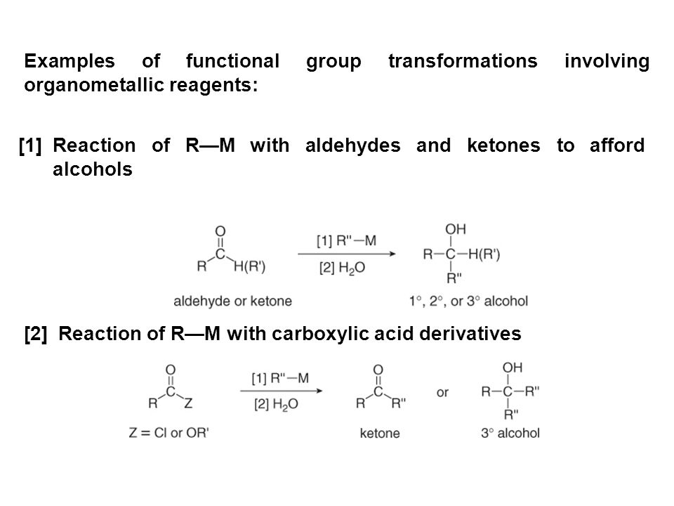 Examples of functional group transformations involving organometallic reagents: