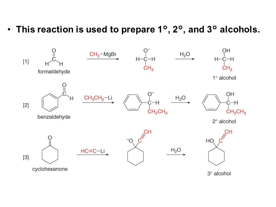 This reaction is used to prepare 1°, 2°, and 3° alcohols.