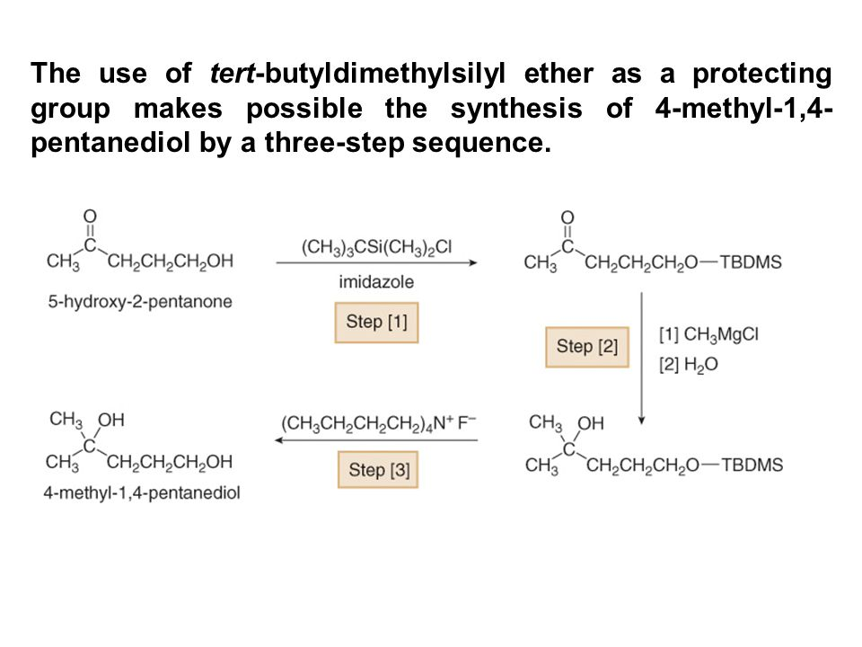 The use of tert-butyldimethylsilyl ether as a protecting group makes possible the synthesis of 4-methyl-1,4-pentanediol by a three-step sequence.