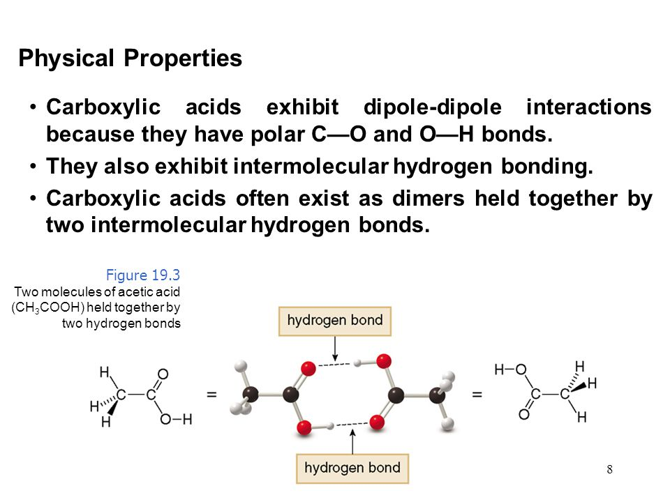 Physical Properties Carboxylic acids exhibit dipole-dipole interactions because they have polar C—O and O—H bonds.