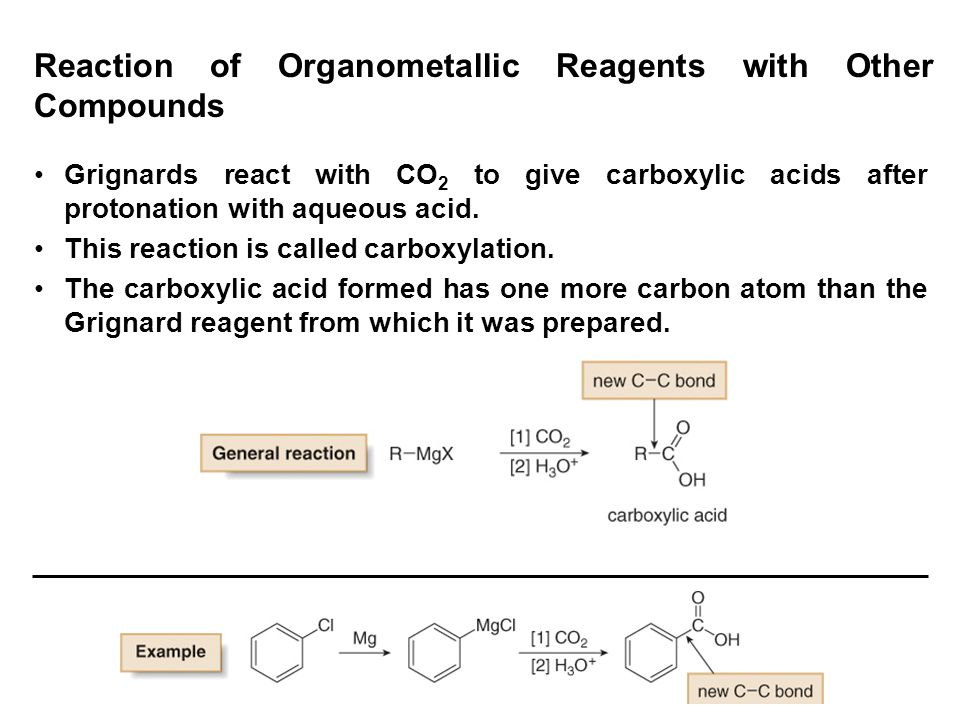 Reaction of Organometallic Reagents with Other Compounds