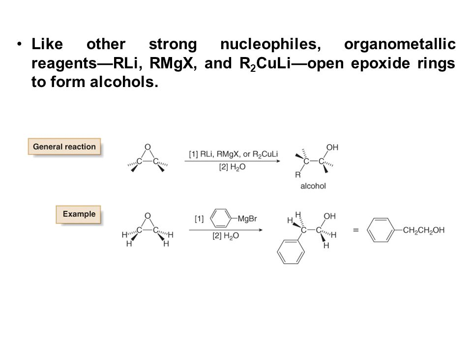 Like other strong nucleophiles, organometallic reagents—RLi, RMgX, and R2CuLi—open epoxide rings to form alcohols.