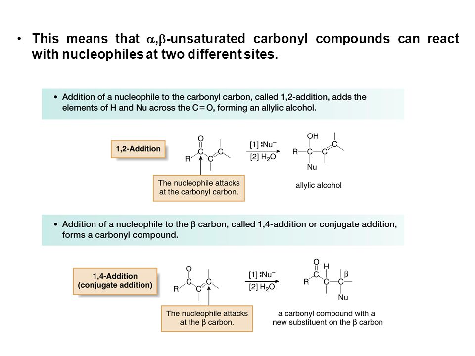 This means that ,-unsaturated carbonyl compounds can react with nucleophiles at two different sites.