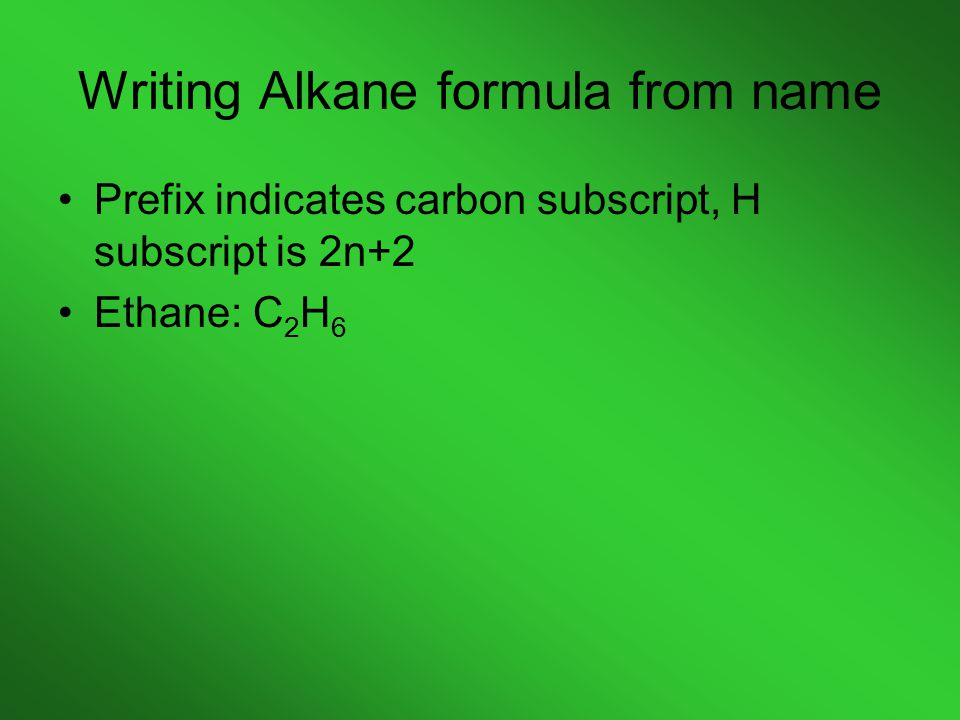Writing Alkane formula from name