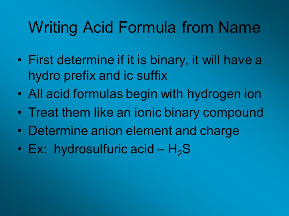 Writing Acid Formula from Name