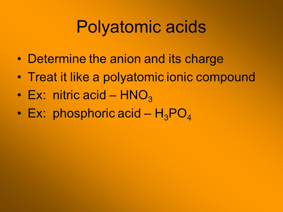 Polyatomic acids Determine the anion and its charge