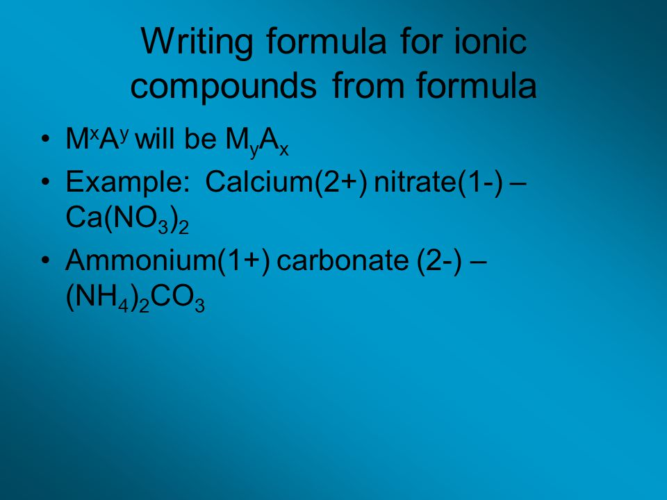 Writing formula for ionic compounds from formula