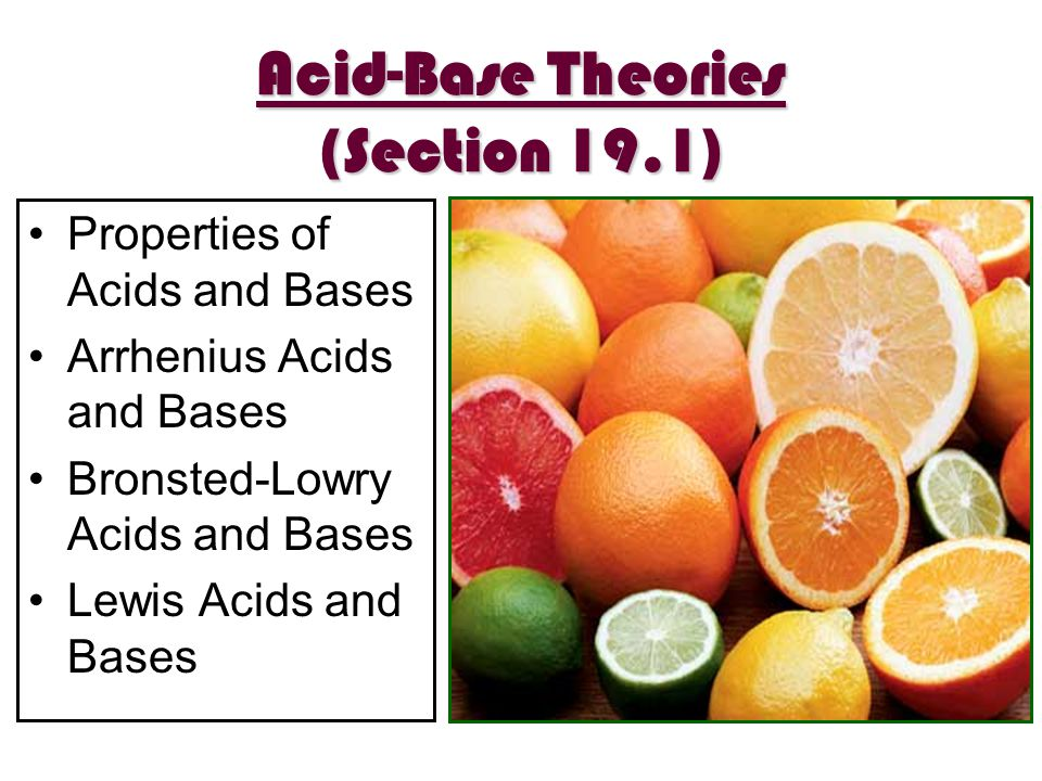 Acid-Base Theories (Section 19.1)