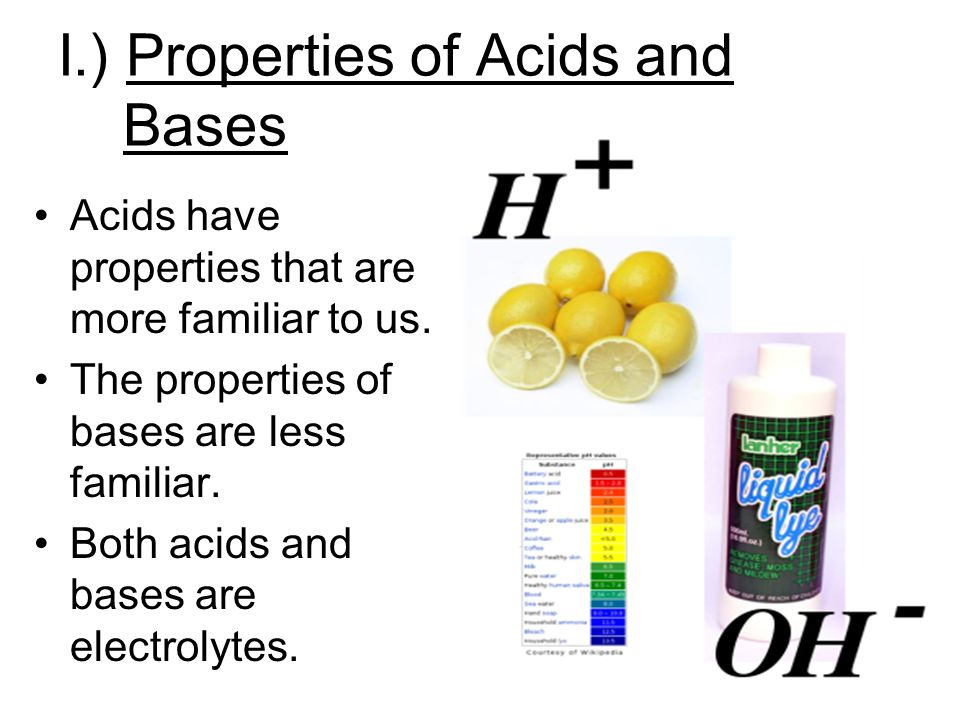 I.) Properties of Acids and Bases