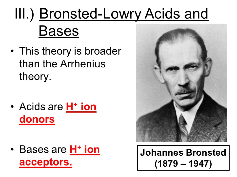 III.) Bronsted-Lowry Acids and Bases
