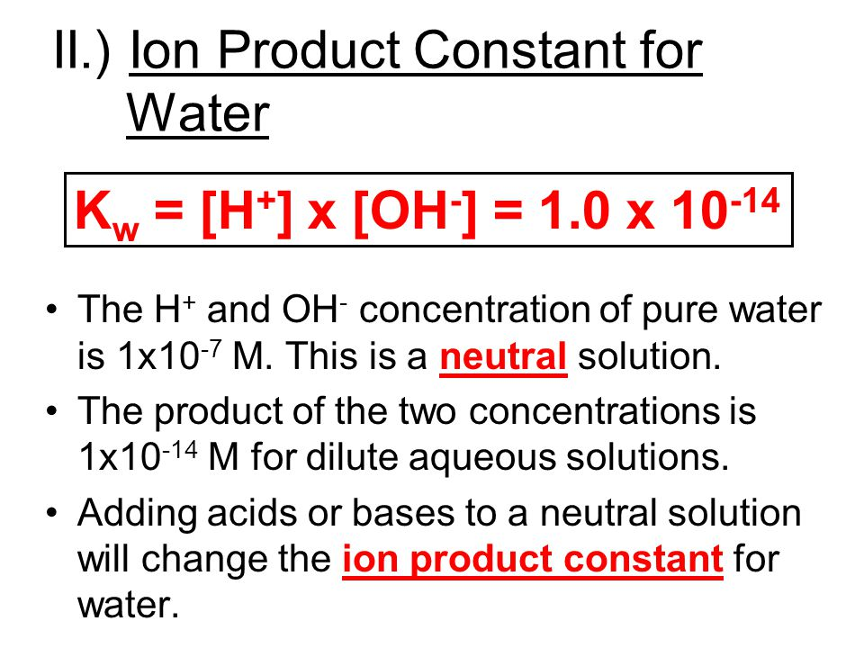 II.) Ion Product Constant for Water