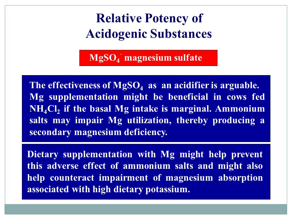 Acidogenic Substances