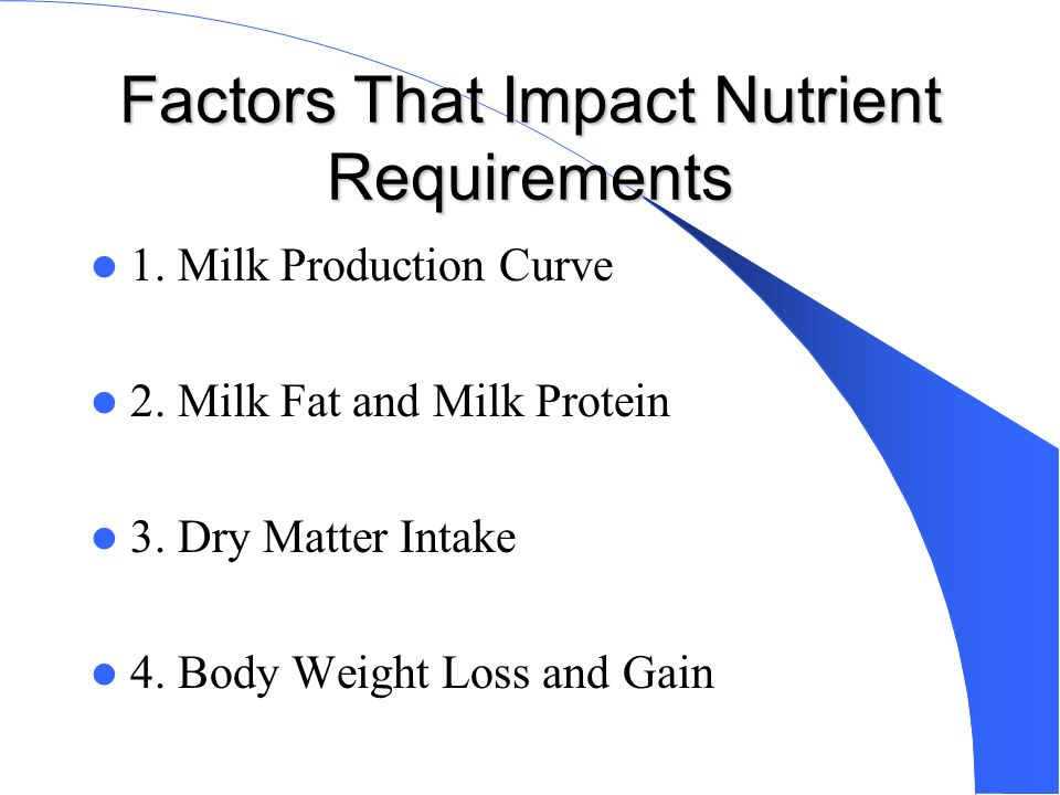 Factors That Impact Nutrient Requirements