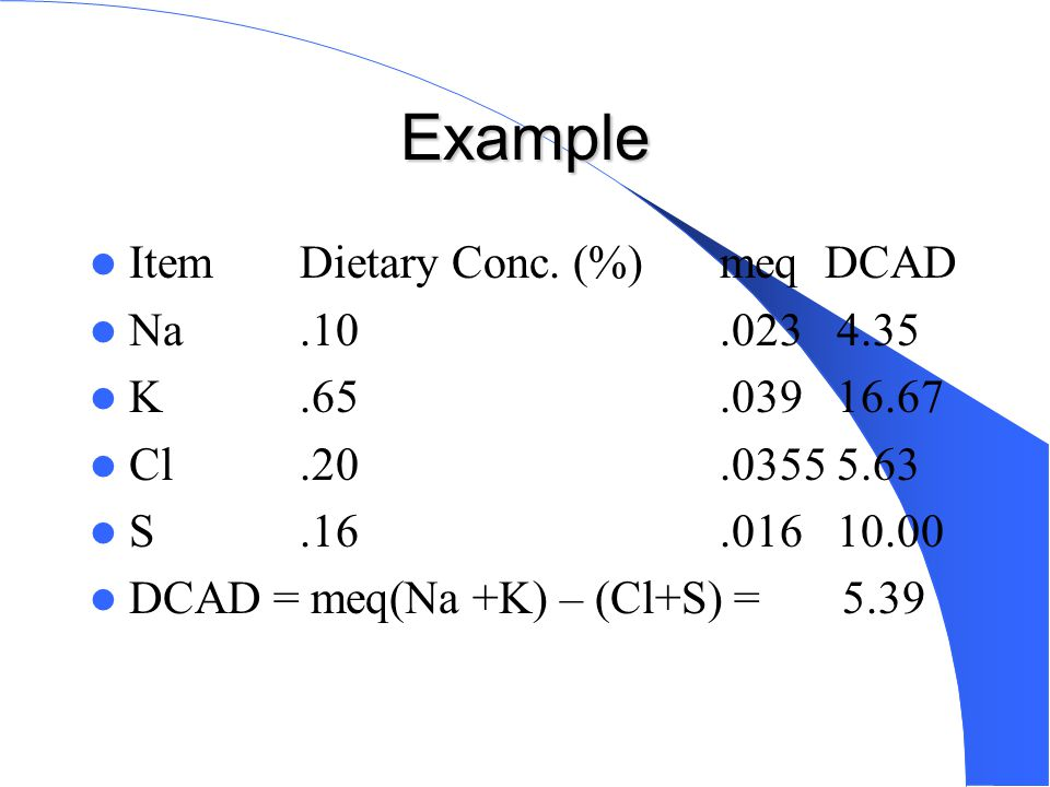 Example Item Dietary Conc. (%) meq DCAD Na .10 .023 4.35