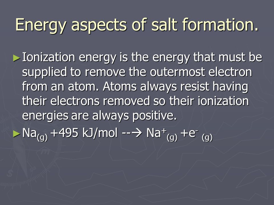 Energy aspects of salt formation.