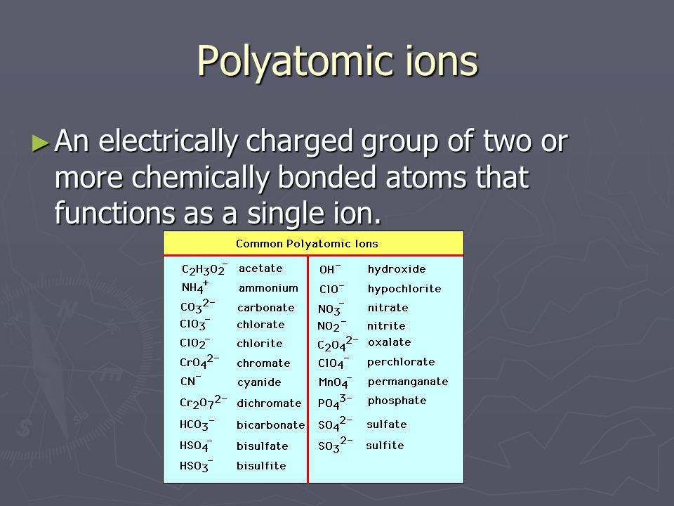 Polyatomic ions An electrically charged group of two or more chemically bonded atoms that functions as a single ion.