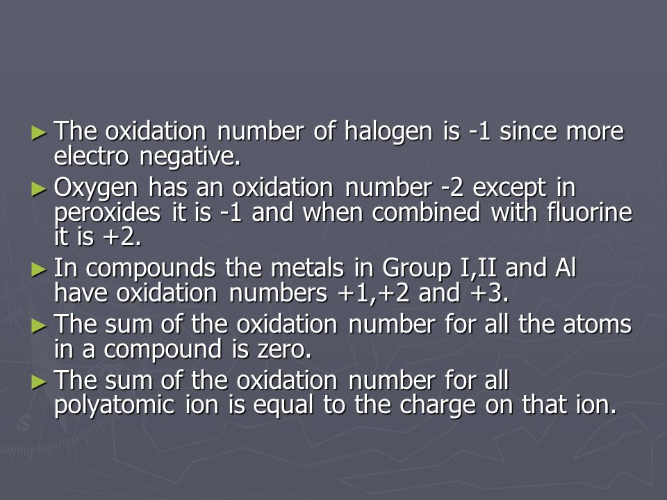 The oxidation number of halogen is -1 since more electro negative.