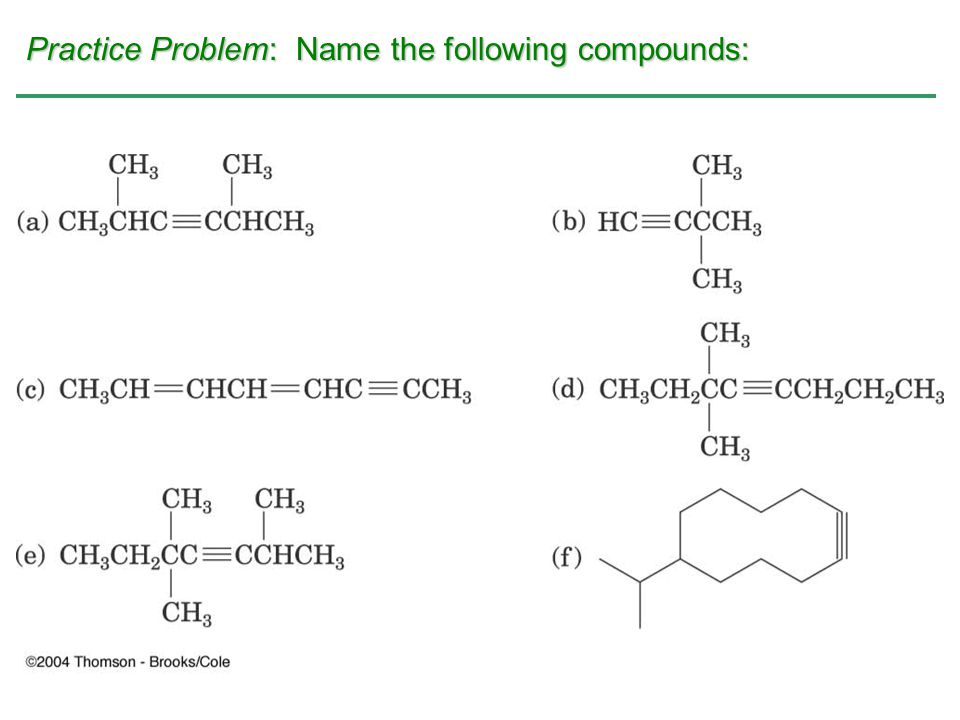 Practice Problem: Name the following compounds: