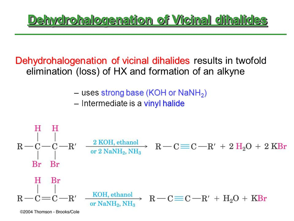 Dehydrohalogenation of Vicinal dihalides