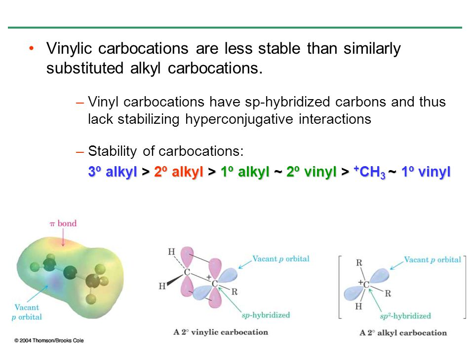 Vinylic carbocations are less stable than similarly substituted alkyl carbocations.