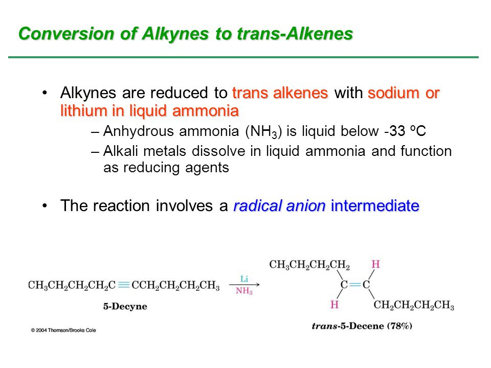 Conversion of Alkynes to trans-Alkenes